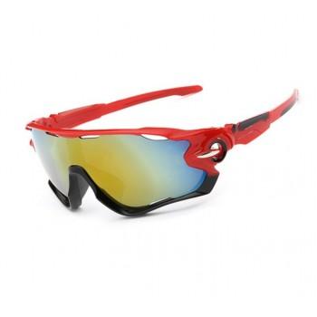 Велосипедные очки Ciclismo красно-черные с зеркальным стеклом