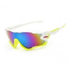 Велосипедные очки Ciclismo бело-салатовые с зеркальным стеклом