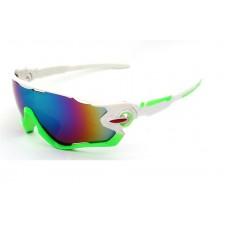 Велосипедные очки Ciclismo бело-зеленые с синим стеклом