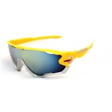Велосипедные очки Ciclismo желтые-серебро с темным стеклом