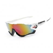 Велосипедные очки Ciclismo черно-белые с зеркальным стеклом