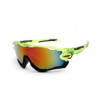Велосипедные очки Ciclismo зеленые с зеркальным стеклом